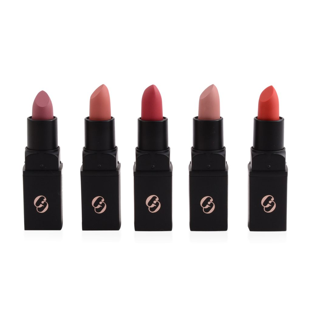 Set of matte nude and red lipstick