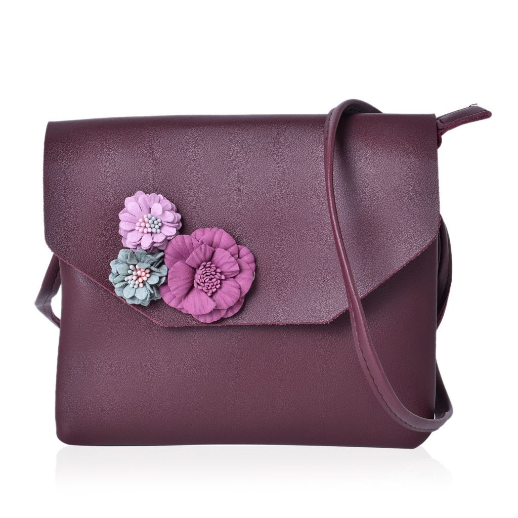 Burgundy faux leather bag