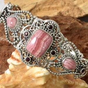 Pink rhodochrosite cuff bracelet in sterling silver.
