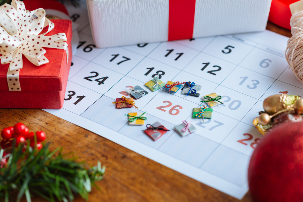 Close up on December 26 on Calendar