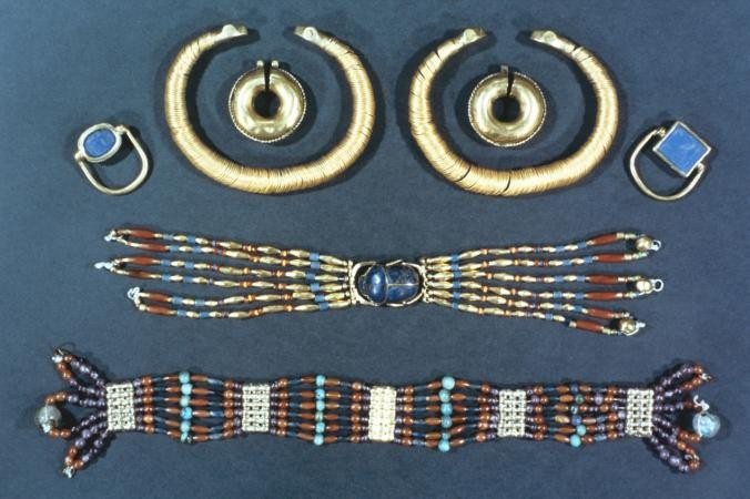 Flat lay of Egyptian Jewelry