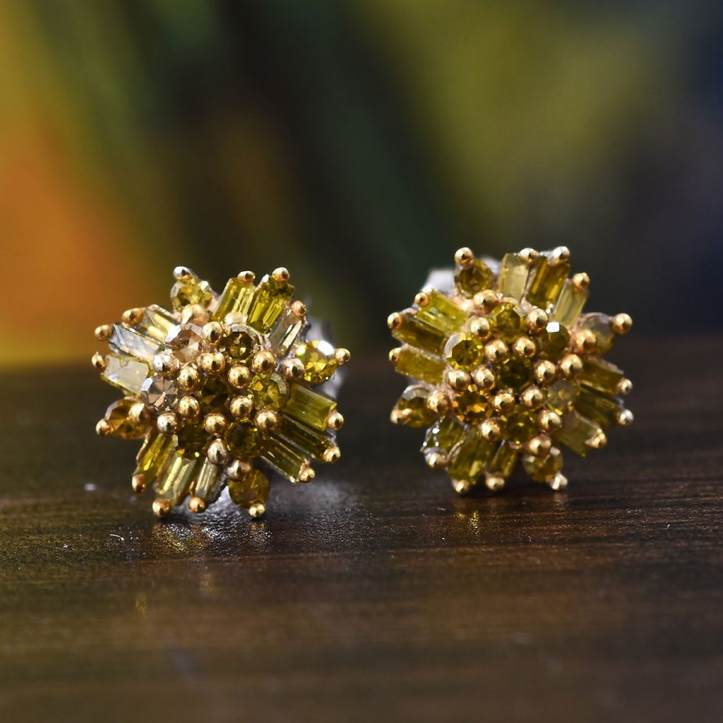 Yellow Diamond Flower Earrings in Platinum Over Sterling Silver