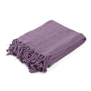Folded lavender throw blanket.