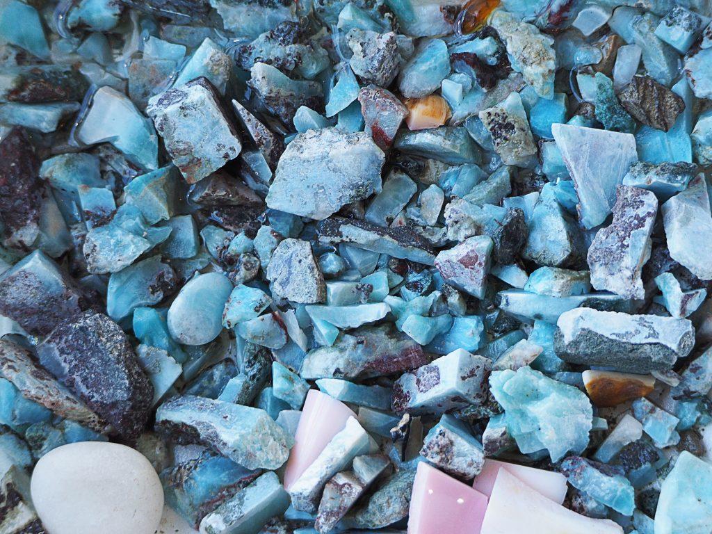 Rough Larimar stones.