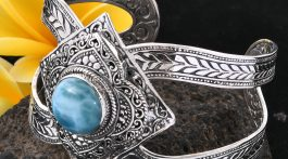 Larimar stone set in sterling silver cuff bracelet.