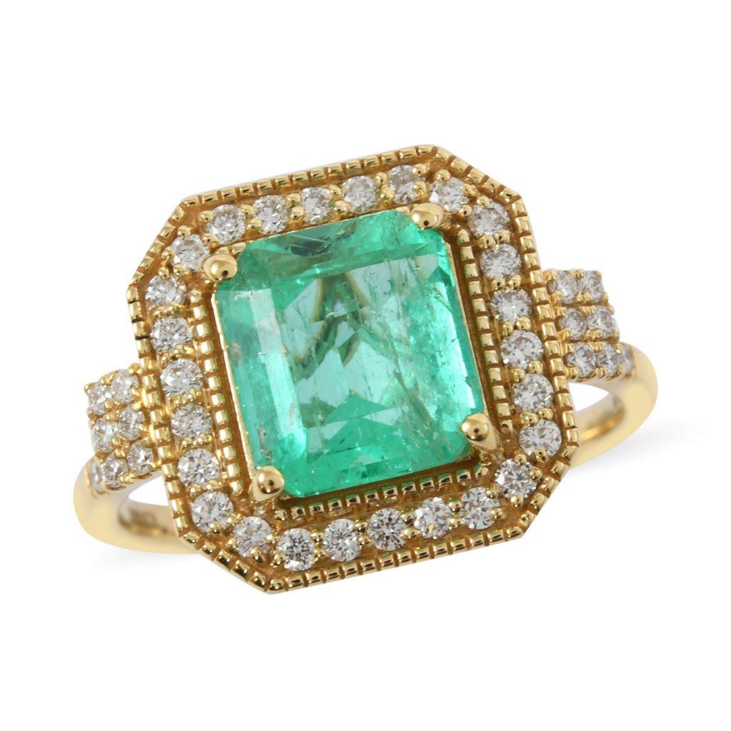 ILIANA AAA Premium Boyaca Colombian Emerald, Diamond (G-H, SI) (0.42 ct) Ring in 18K Yellow Gold