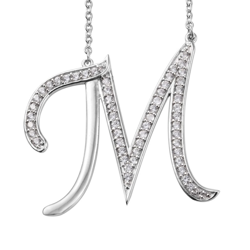 Initial M Necklace Featuring Cambodian White Zircon in Platinum Over Sterling Silver