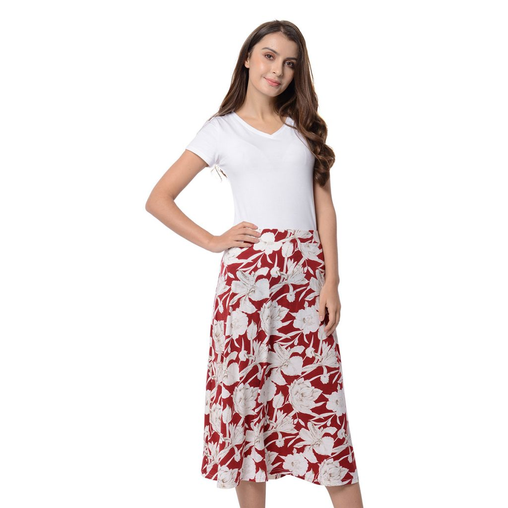 Marigold & Lotus Mulberry and White Floral Pattern High Waist Elastic Midi Skirt