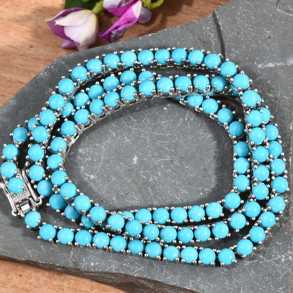 Sleeping Beauty Turquoise line necklace in sterling silver.