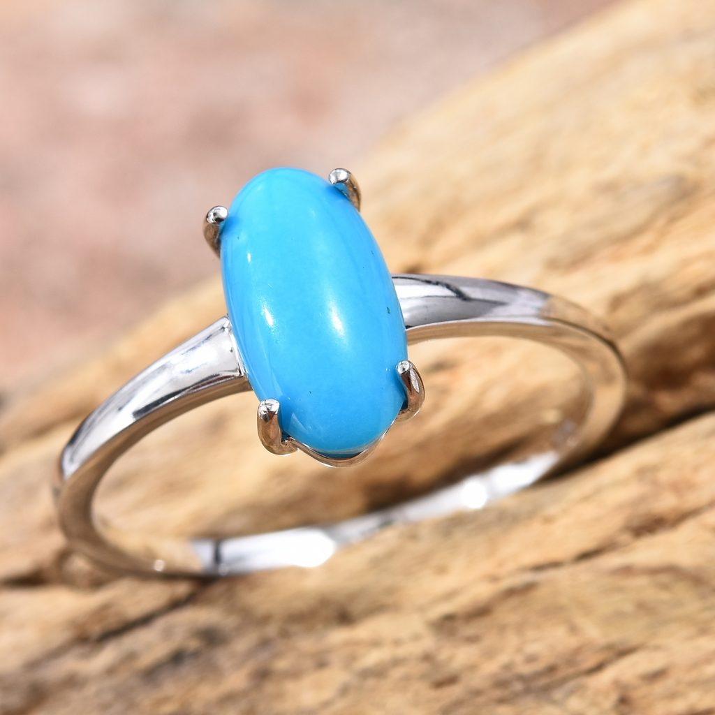 Sleeping Beauty Turquoise ring in 14k white gold.