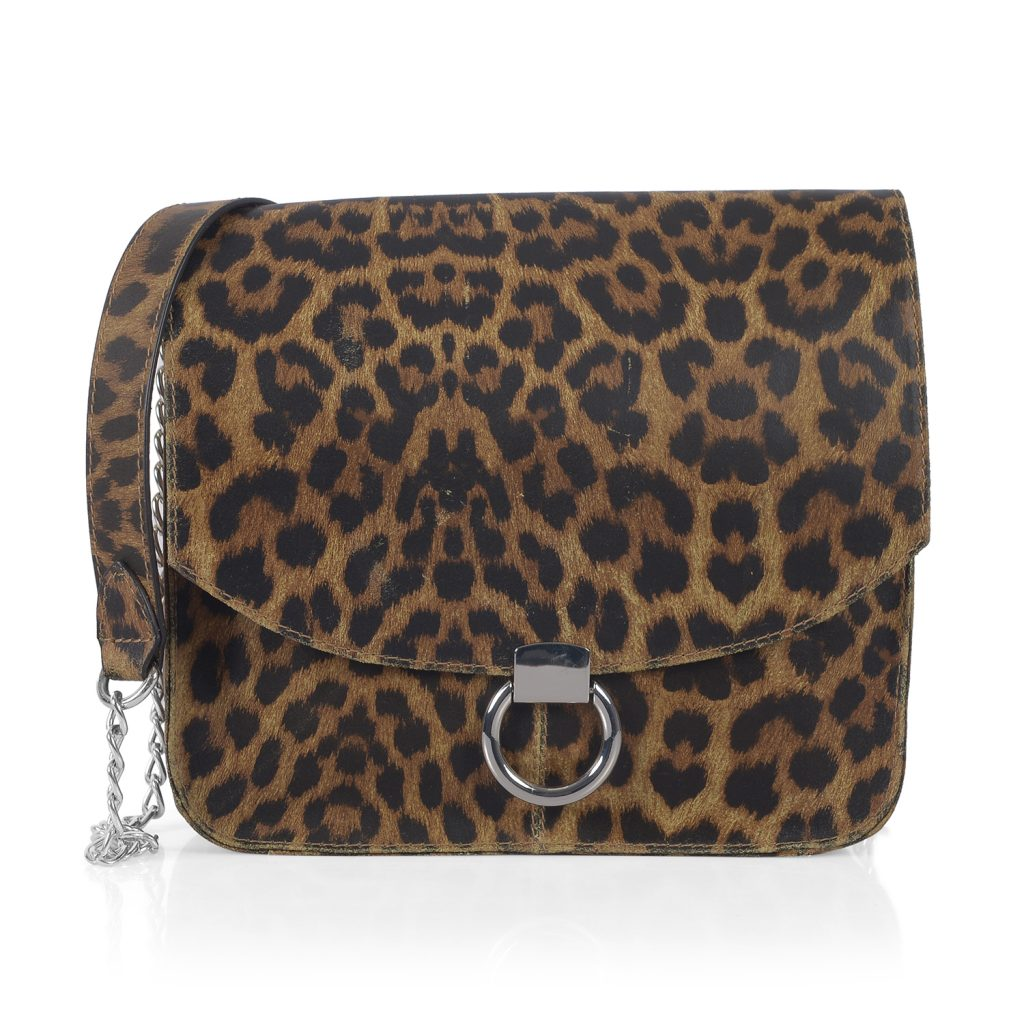 Leopard print saddle bag.