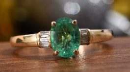 AAA Premium Boyaca Colombian Emerald, Diamond Ring in 14K Yellow Gold