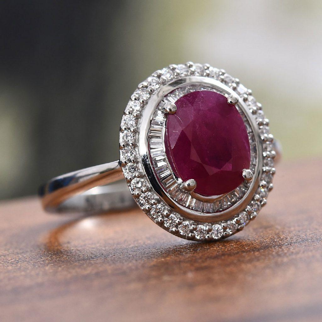 RHAPSODY AAAA Premium Burmese Ruby, Diamond Double Halo Ring