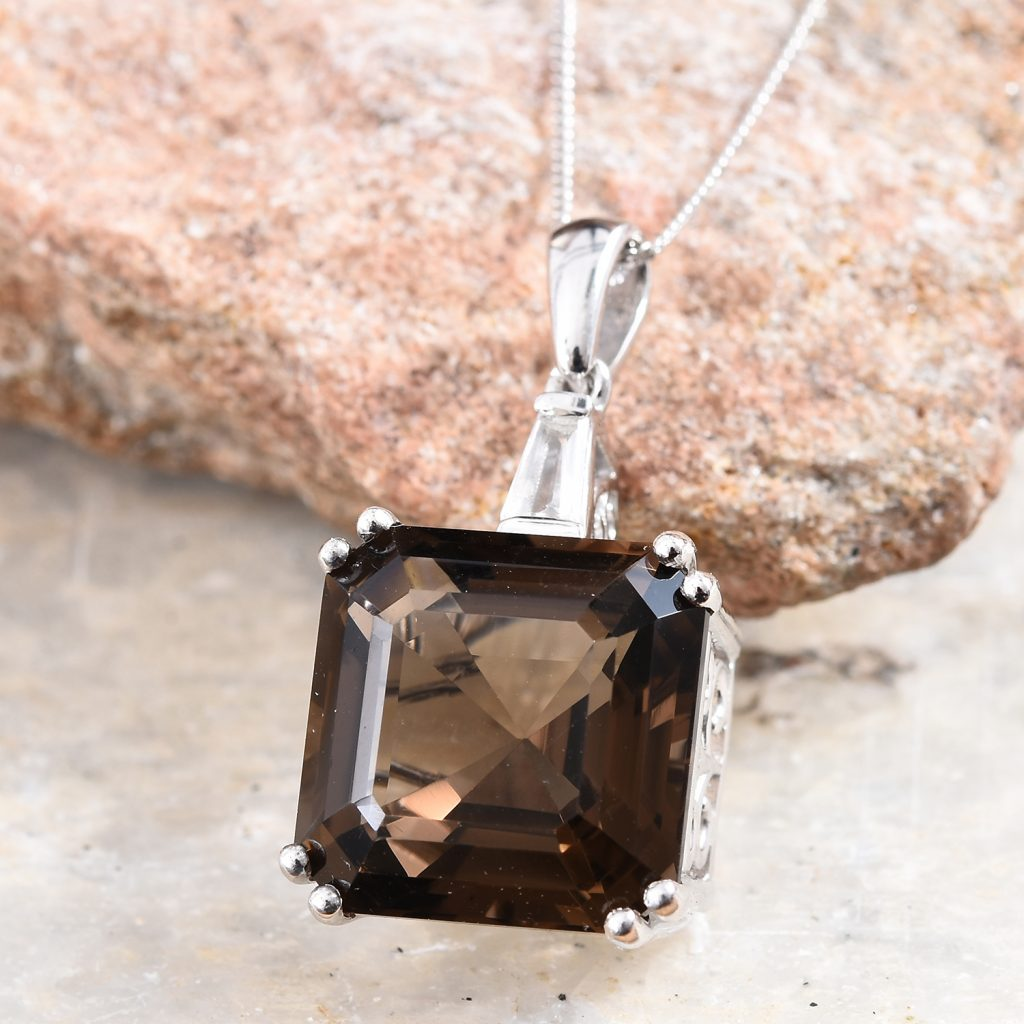 Large Asscher cut smoky quartz pendant.