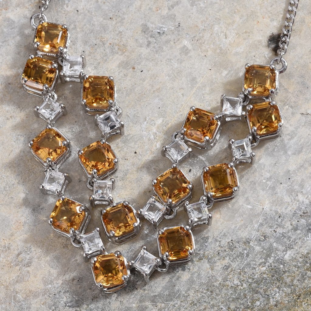 Citrine statement necklace featuring Asscher cut gems.