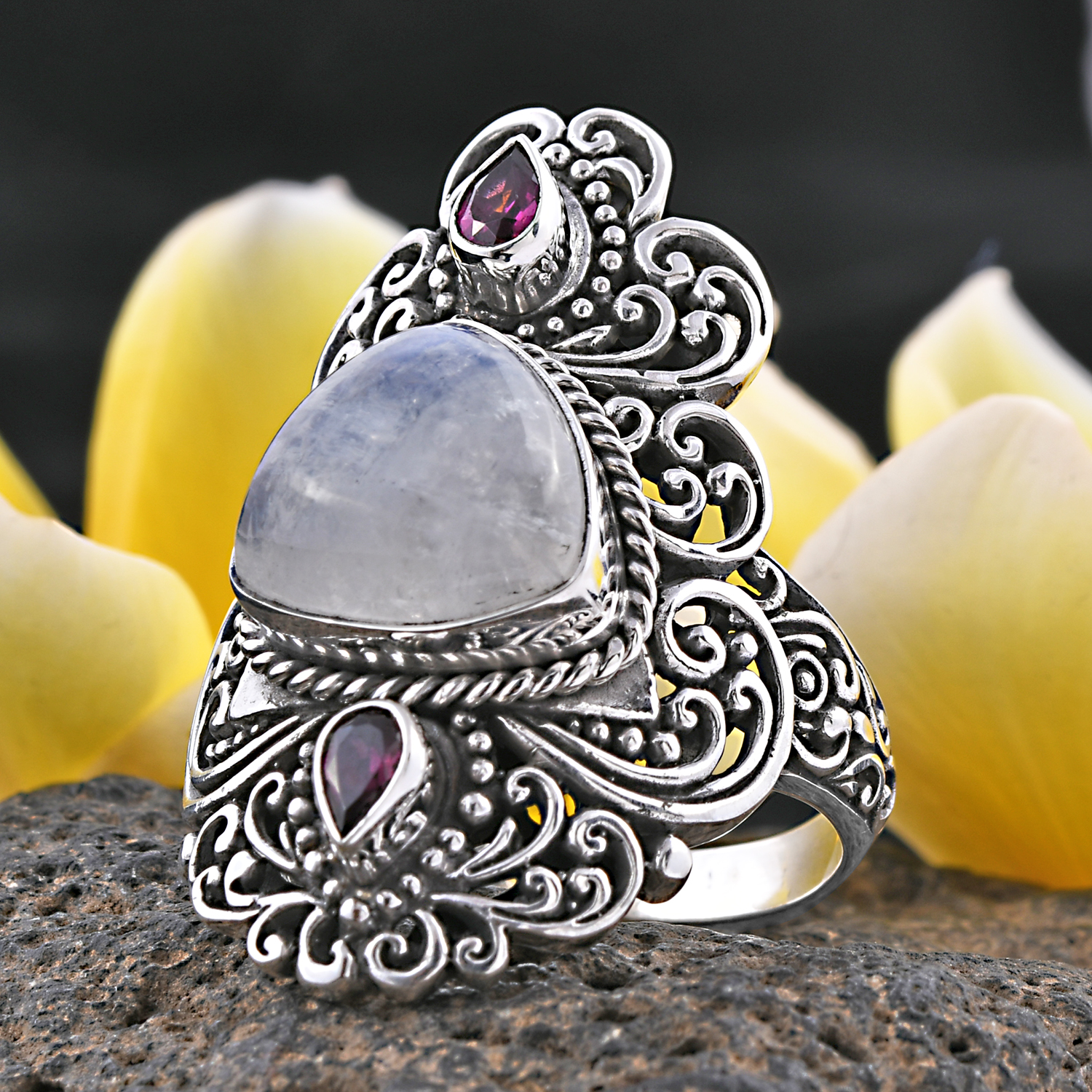 Ornate moonstone ring from Bali.