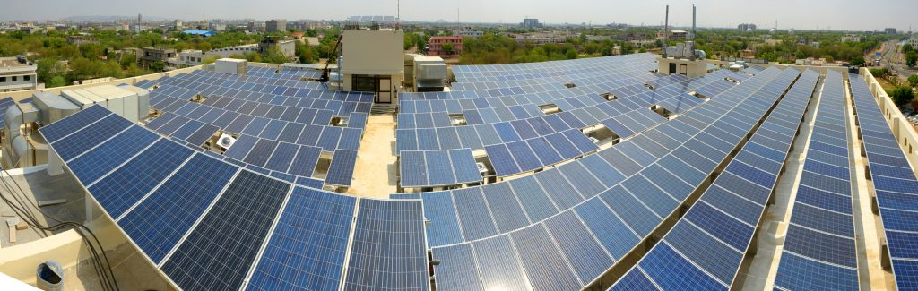 Solar panels collect supplemental energy.
