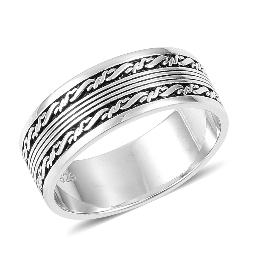 White sterling silver men's ring with barbwire motif.