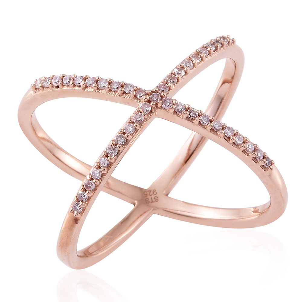 Natural pink diamond criss-cross ring in 14K rose gold.