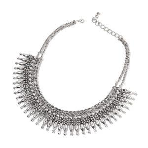 Dramatic bib necklace.