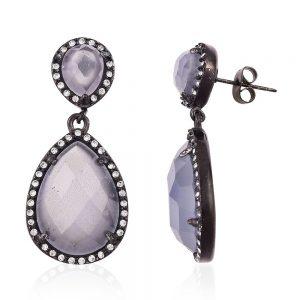 Simulated gem drop earrings.