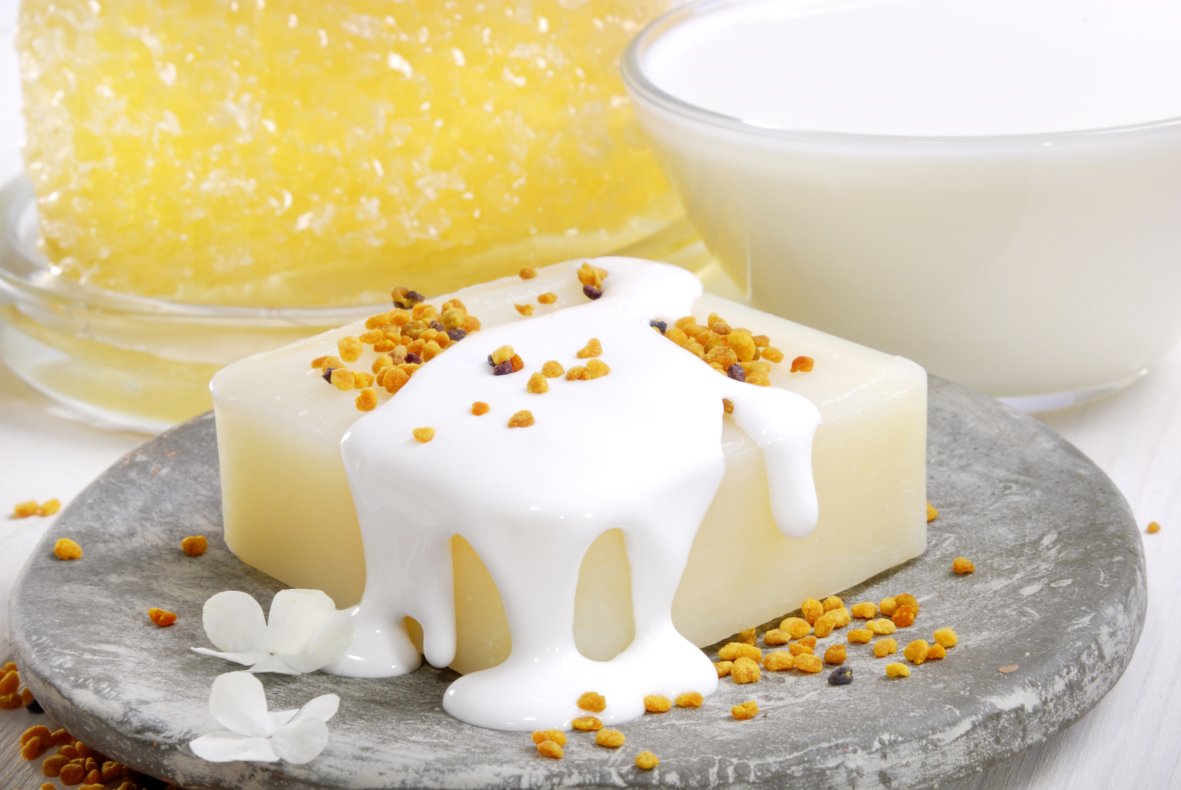 Artful arrangement of handmade milk and honey soap.