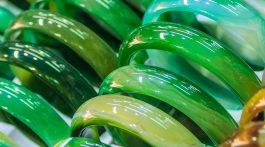 Closeup of Jade bracelets