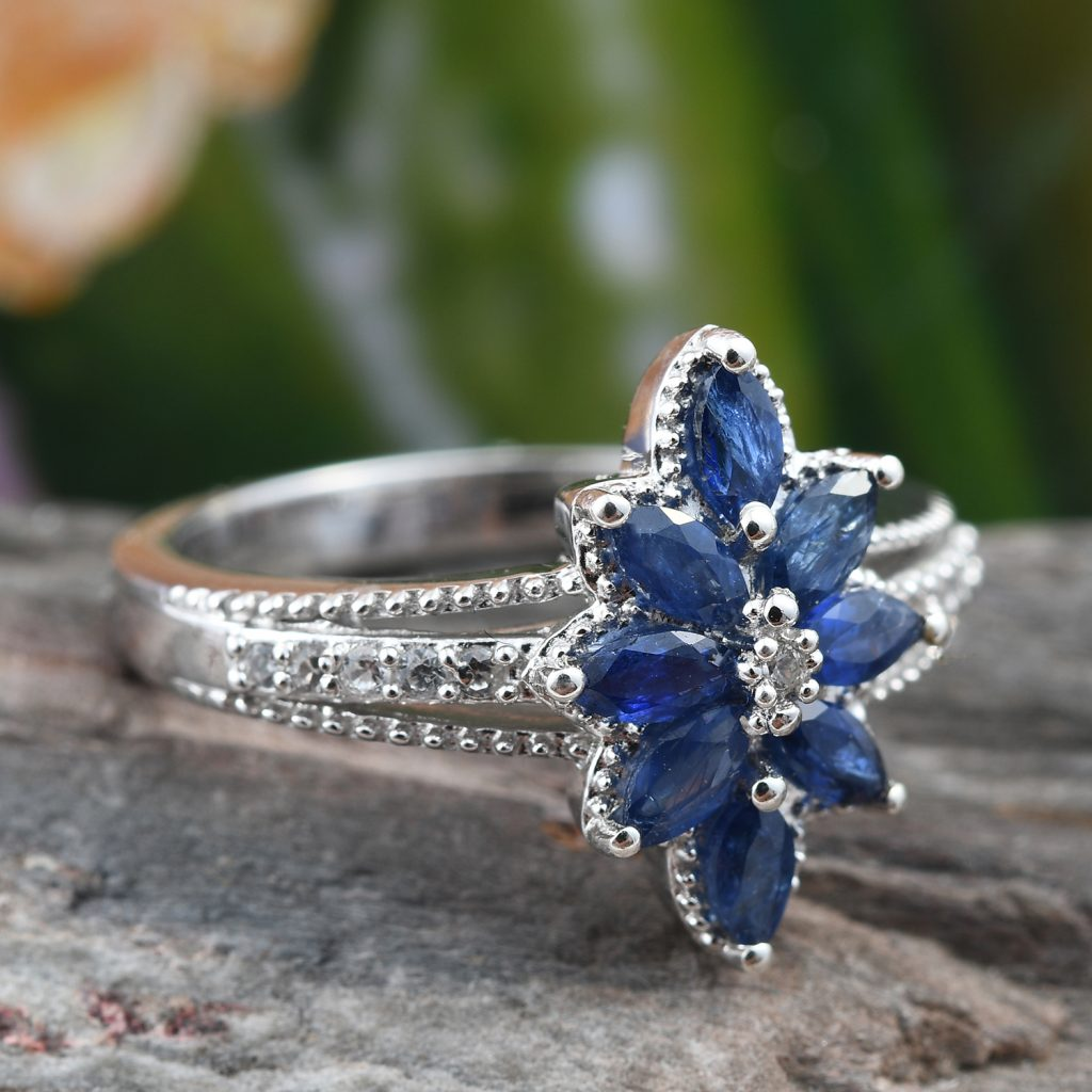 Burmese sapphire floral ring.