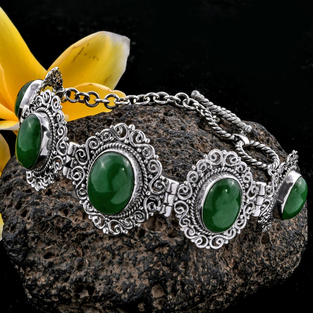 Bali Legacy Burmese Green Jade Toggle Clasp Bracelet in Sterling Silver