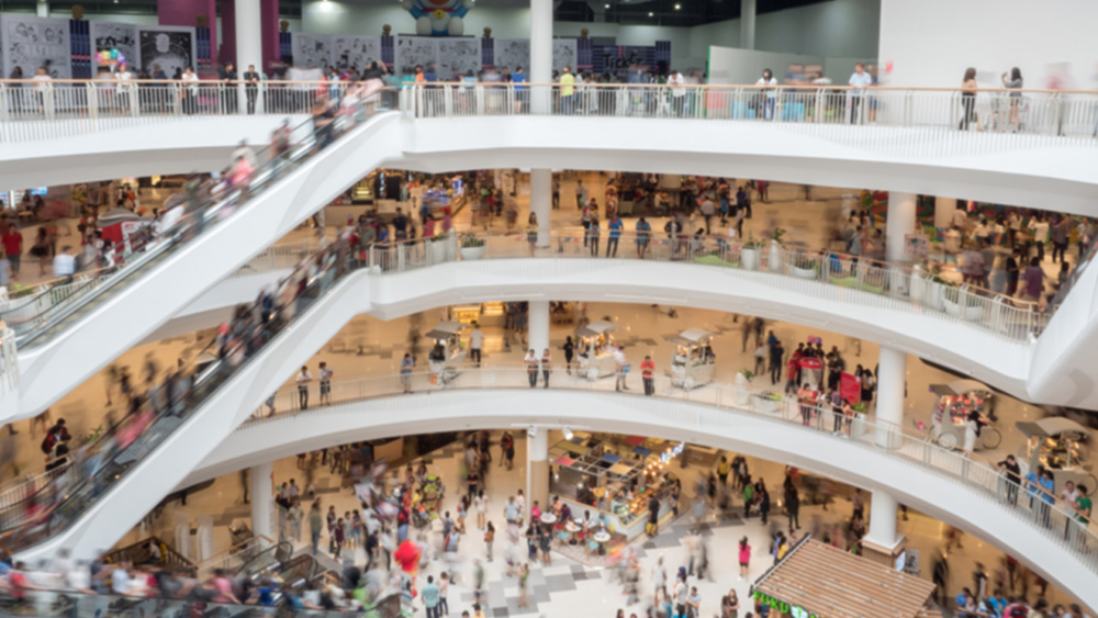 Crowded shopping mall.