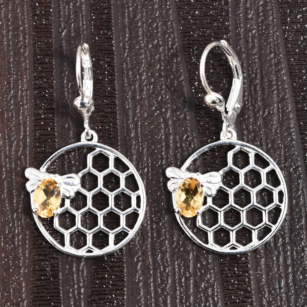 Brazilian Citrine Honeycomb Earrings in Sterling Silver