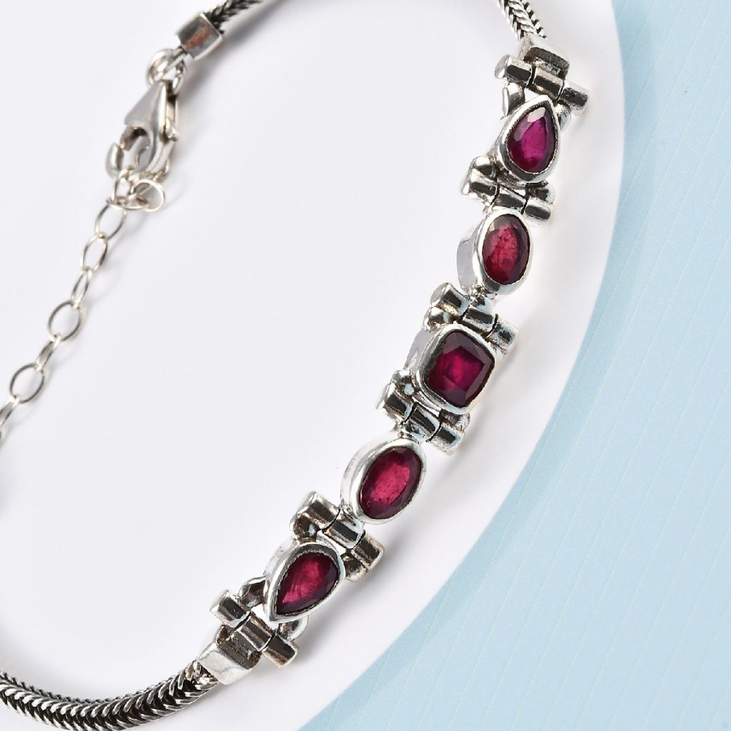 Artisan Crafted Niassa Ruby Bracelet in Sterling Silver