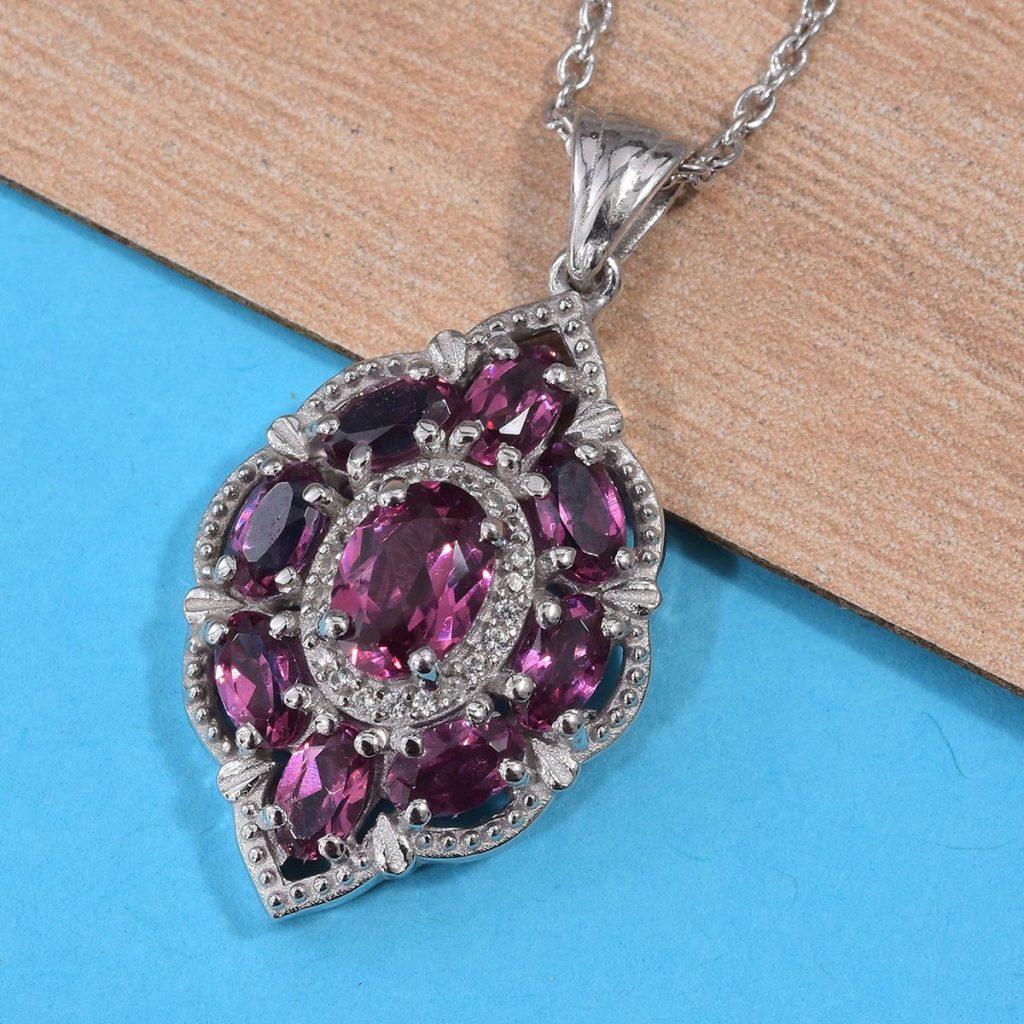 Rhodolite garnet in sterling silver pendant.