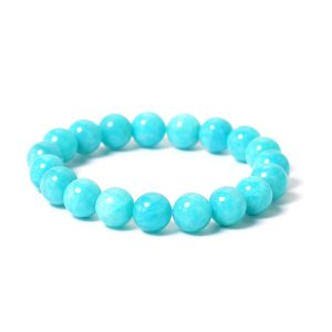 Neon blue-green amazonite beaded stretch bracelet.