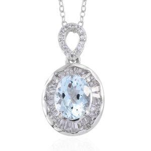 Oval aquamarine pendant on white background.