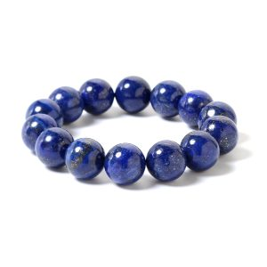 Blue lapis lazuli beaded stretch bracelet.