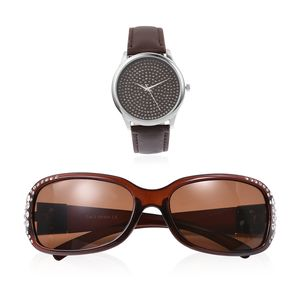 Brown sunglasses and coordinating watch set.
