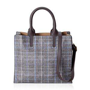 Plaid tote bag with faux leather accents.