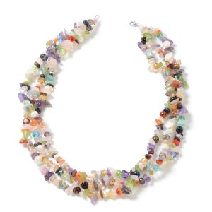 Mixed pearl and gemstone statement necklace.