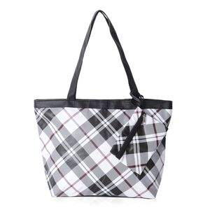 Black and white plaid tote bag with coin purse.
