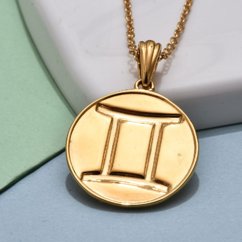 Gemini Zodiac Pendant Necklace in Vermeil Yellow Gold Over Sterling Silver