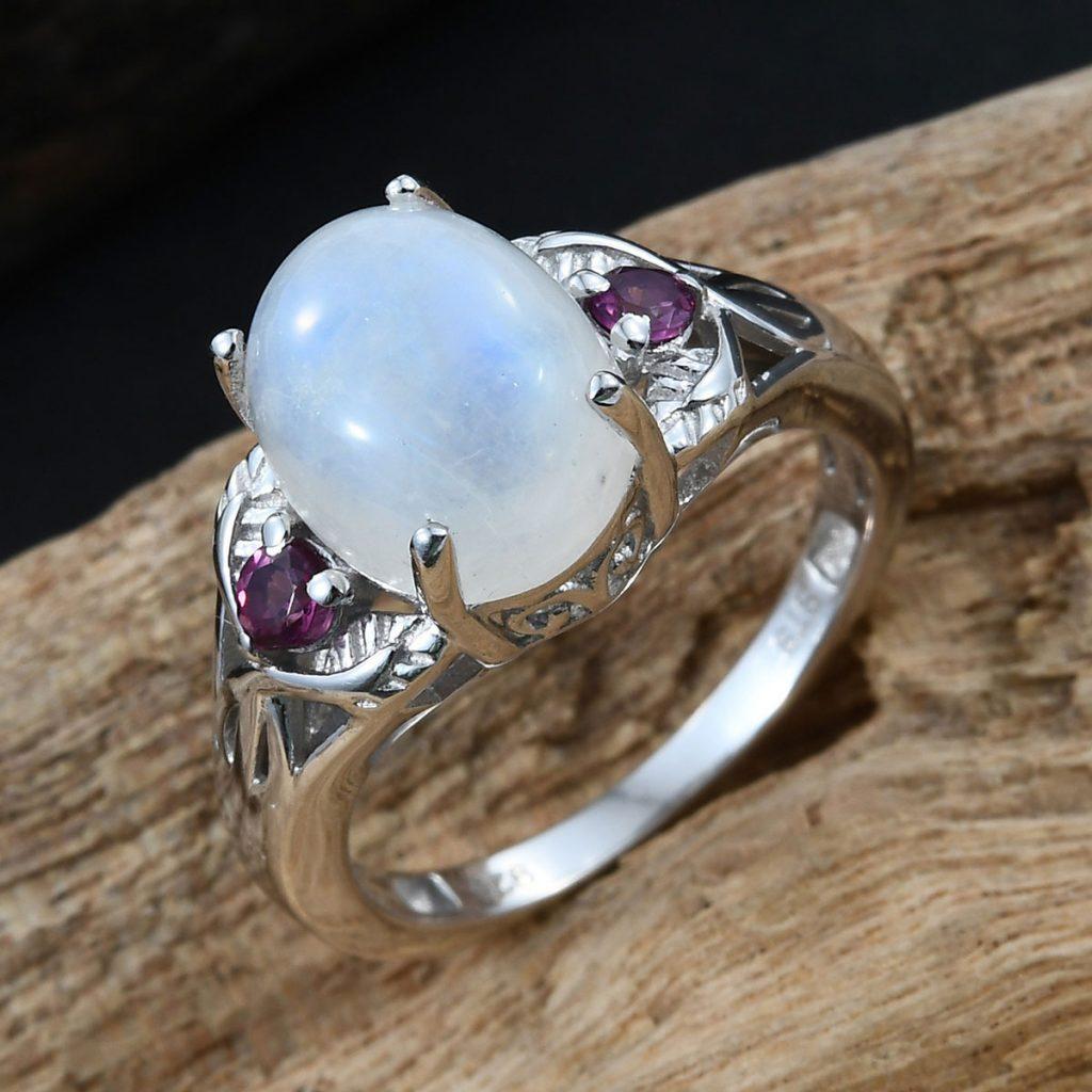 Rainbow Moonstone and Orissa Rhodolite Garnet Ring in Platinum Over Sterling Silver