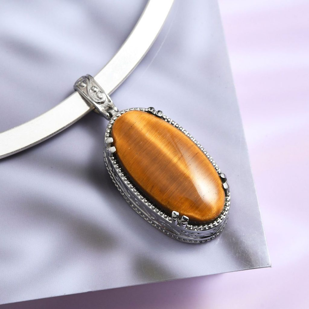 South African Tigers Eye Pendant in Stainless Steel With Platinum Bond Brass Collar Necklace