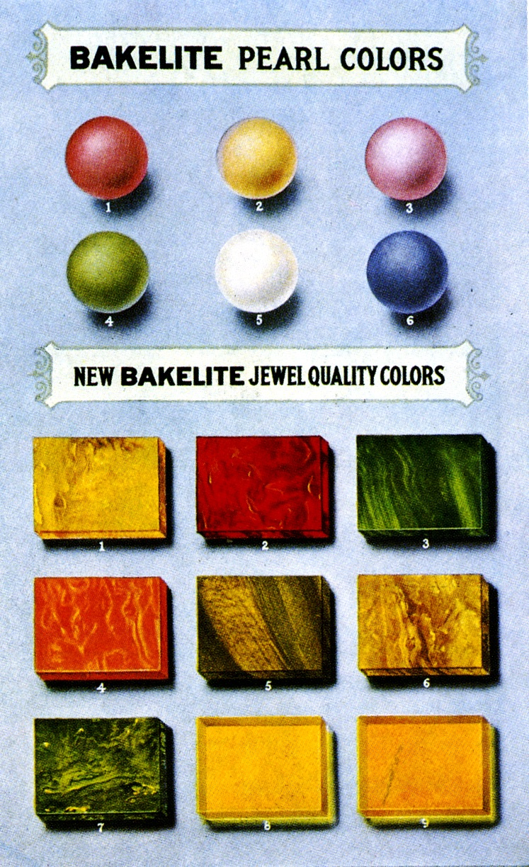 Vintage Bakelite color chart.