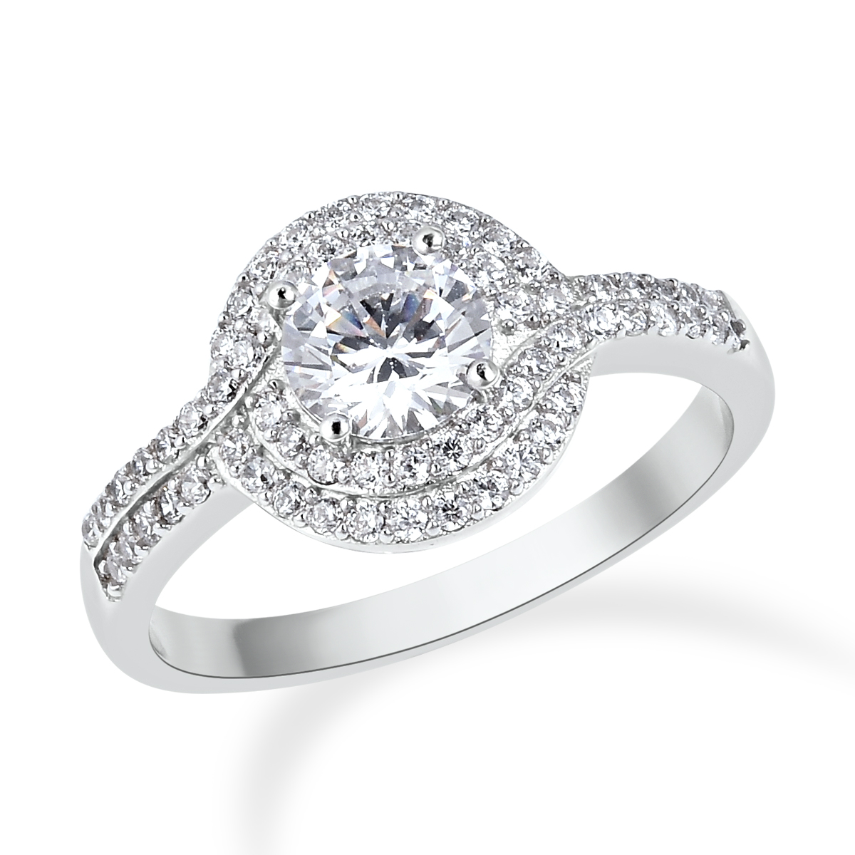 Lustro Stella cubic zirconia halo ring on white background.
