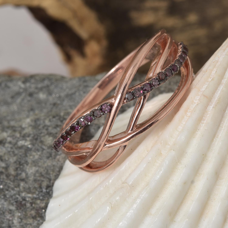 Purple diamond ring with rose gold vermeil.
