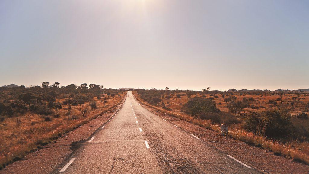 Highway stretching through the desert.