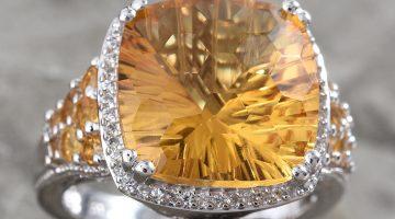 Citrine gemstone ring featuring a beehive cut gemstone.