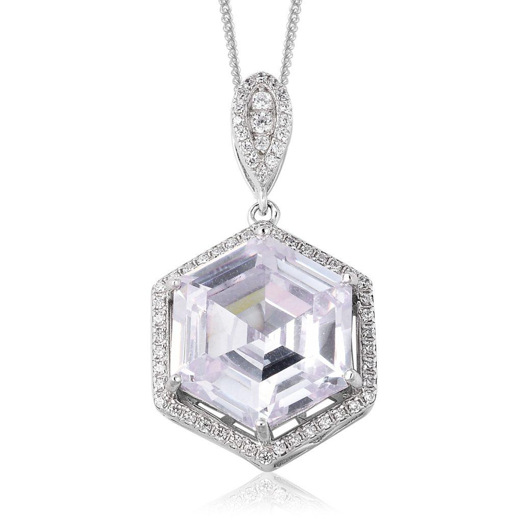 LUSTRO STELLA Simulated Diamond Pendant Necklace