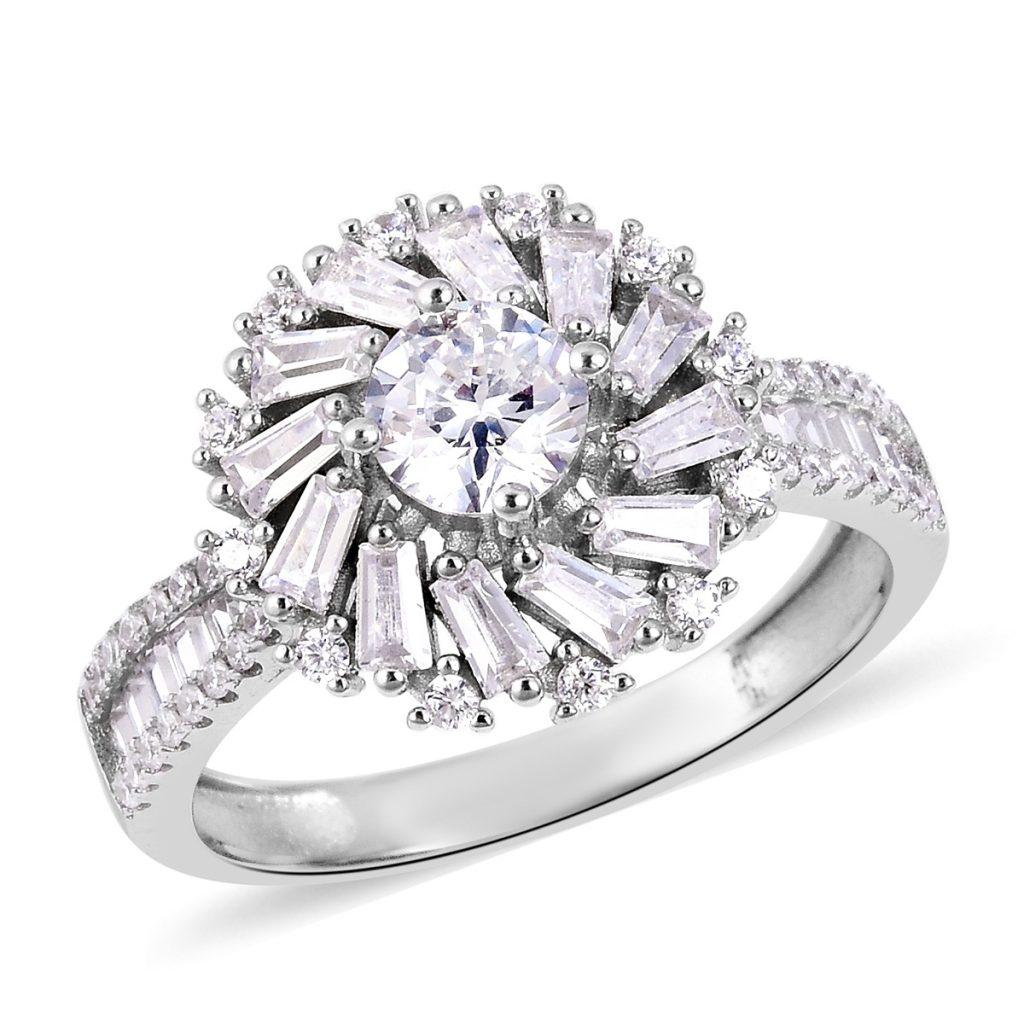 Lustro Stella halo ring in sterling silver.